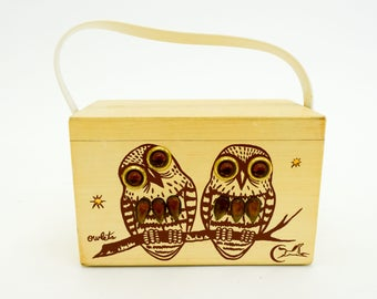60s Wood Box Purse | Wooden Owlets Bejeweled Purse Handbag | Enid Collins
