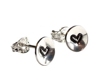 Tiny Embossed Heart Studs Earrings Sterling Silver