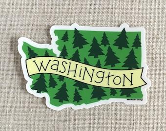 Washington State Trees Vinyl Sticker / Illustrated Washington State Travel Sticker / Washington State Bumper Sticker / Water Bottle Sticker