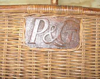 Vintage Wicker Picnic Basket From P & G Great For Picnics Given To Employees As An Employee Appreciation Gift From Procter And Gamble