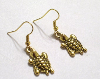 Antiqued Gold Plated Turtle Earrings, Turtle Jewelry, Pierced Earrings, Gold Turtle Earrings