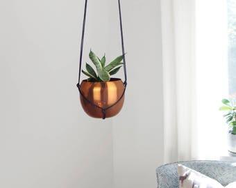 Modern Round Hanging Planter / Vintage Copper Plant Pot & Black Hanger For Air Plant and Succulent / Minimalist Home Decor / Metal Pot