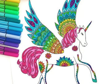 Downloadable Unicorn Coloring Page, adult coloring page download, Kids coloring page download, coloring page, Printable, Unicorn Art