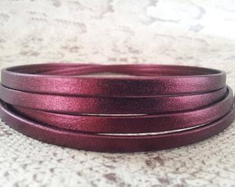 5 mm flat double Burgundy metallic high quality European leather strap