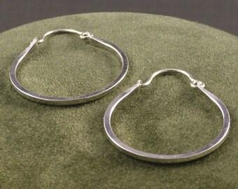 Silver Handmade Hoops - Argentium Hoop Earrings - Classic Minimalist Everyday Wear - Ladies Gift - MetalRocks - SS Sleeper Hoops