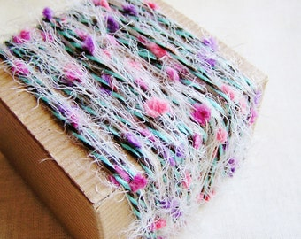 Candy Pink and Lavender Turquoise Espresso Twist Pom Fringe Trim - scrapbook embellishment, specialty gift wrap, novelty trim- 5 yds