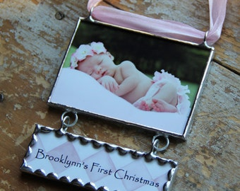 First Christmas Photo Ornament, Baby's First Christmas Ornament, Birth Announcement Ornament, New Baby Photo Keepsake