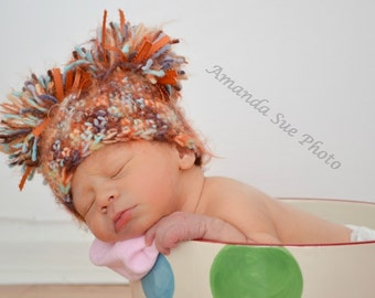 Crochet PATTERN Directions for Making a Crochet Fuzzy Pompom Hat for Infants through Adults - INSTANT DOWNLOAD