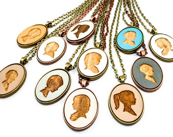 Personalized Portrait Pendant - Children's Silhouette Laser Engraved in Wood Cameo - Mother's Day Gift Idea (Choose Your Color)