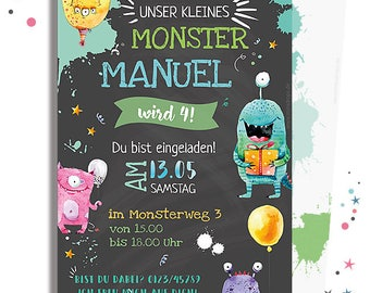 INVITATION to the birthday * MONSTER motif printable map * personalized & individually * for a monster party