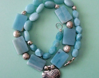 Gemstone Jewelry Necklace - Amazonite and Sterling Silver Gemstone Beaded Necklace