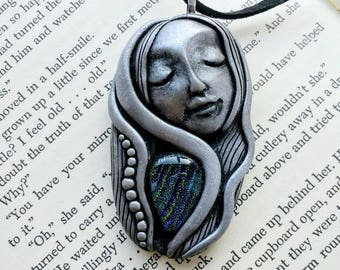 Unique Handmade Polymer Clay Pendant, Dichroic Glass Pendant, Blue Dichroic Glass, Goddess Pendant, Ooak Goddess Pendant, Bohemian Goddess.