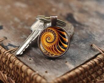 Golden Fractal Keychain, Fractal Keychain, Fibonacci Spiral Keychain, Golden Ratio Keychain, Fibonacci Keychain, Sacred geometry Keychain,