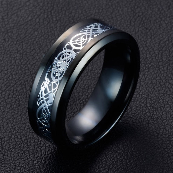 Mens Rings Wedding Band 8mm Band Silver Celtic Dragon Ring Size 8 Tungsten Carbide Ring Promise Ring Friendship ring Mens Black Dragon Ring