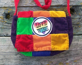 Rainbow Love Wins Recycled Corduroy Crossbody Purse Red Orange Yellow Green Blue Purple