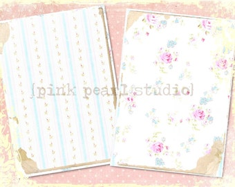 """English Linens Background Digital Prints in 2 - 5x7"""" Format Altered Art, ATC, Scrapbooking"""