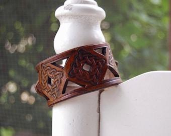 Antique Tan Celtic Weave Leather Bracelet