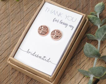 Druzy Earrings, Maid of Honor Rosegold and Gunmetal Druzy Earrings, Druzy Studs, Faux Druzy Earrings, Bridesmaids Gift, Bridal Gifts