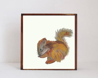 squirrel woodland nursery art, forest animal nursery prints, art block, squirrel print, forest decor, woodland animals, redtilestudio