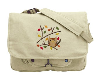 Owl in Autumn Branches Embroidered Canvas Messenger Bag