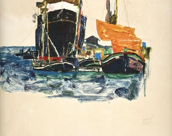 """Schiele Egon, 26, Lithograph, """"Boats at Trieste"""" printed 1968"""