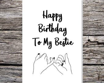 best friend birthday card, friend card, best friend, bestie, funny happy birthday card curly/script font my bestie best friend pinky promise
