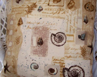 "Pillow Cover Shells Seashells Brown Tan blue gold 20"" tropical Indoor / outdoor coastal"