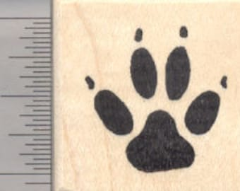 Dog Paw Print Rubber Stamp D3904 Wood Mounted