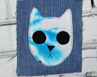 Unique OOAK Reclaimed Upcycled Zombie Kitty Cat Tie Dye DIY Applique Riot Vest Jacket Patch