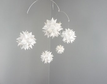 Hanging Origami Sphere Mobile -'Libra' Pearl White