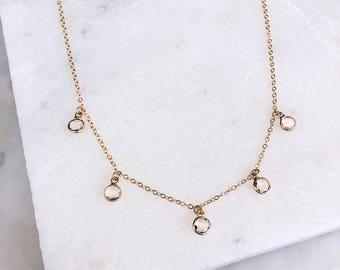 Swarovski Crystal Necklace, 14 KT Gold Filled, Delicate Necklace, Prom, Dainty Necklace, Layered Necklace, Crystal Necklace,