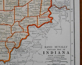 Vintage Indiana Map, 1940s antique US State atlas map, old maps as art
