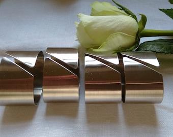 4 Vintage Brushed Steel Oval Napkin Rings