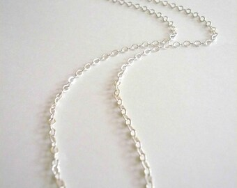 Short silver necklace chain. Sterling silver chain. Necklace only without pendant.