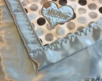"Baby Blanket ""Mathew"" matching petsonalized muslin travel blanket"