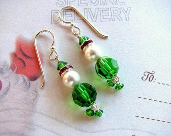 Christmas Elf Earrings, Holiday Earrings, Swarovski Earrings, Elf Earrings, Dangle Earrings, Green Earrings, Christmas Earrings, Elf Jewelry