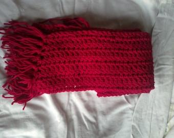Adult light cherry red crochet scarf