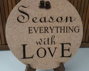 Kitchen Trivet. Cork. Laser Engraved Custom Trivets