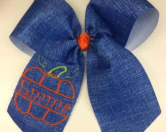 Monogram Name, Pumpkin Patch Denim, Hair Bow, Embroidered Bows, Blue Jean, Rustic Wedding, Barn Flower Girl, Fall Autumn Large, Hairbows