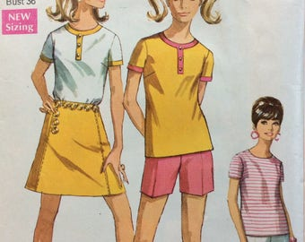 Simplicity 7547 misses pants, shorts, skirt and top size 14 bust 36 vintage 1960's sewing pattern