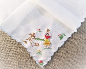Vintage Madeira Handkerchief Hanky Hand Embroidered Peasants Portuguese Folklore Portugal