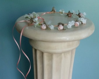 Baby flower crown Peach blush Bridal party hair accessories hair Wreath wedding accessories Flower girl halo couronne fleur photo prop
