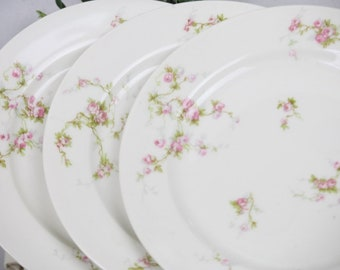 "French Limoges Plates Set of 3 Lunch Salad 7.5"" Pink Roses Trailing Green Vines Mix and Match Place Settings Pink White Wedding Vintage"