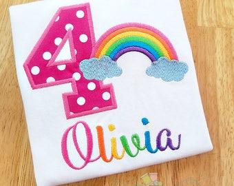 Girls Rainbow Shirt - BRIGHT Rainbow Birthday Shirt - Birthday Party Shirt for Girls - Personalized Birthday Number Shirt - Birthday Shirt