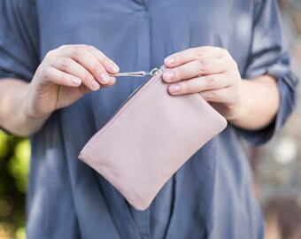 Small Leather Pouch. Leather Makeup bag. Leather Cosmetic Bag. Zipped leather purse
