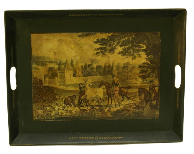 French Antique Tole Tray with Hunting Scene. Large Rectangular Barware Drinks & Serving Tray. Home Bar Decor and Gifts for Him.