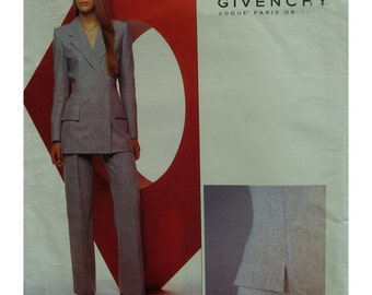 Alexander McQueen Pantsuit Pattern, Fitted, Lined, Double Breasted, Detailed Collar, Yoked Pants, Givenchy Paris Original 2467 UNCUT Size 16