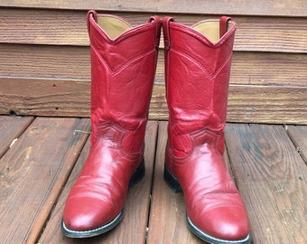 Red leather cowboy boots / women's size US 8.5 / Free shipping