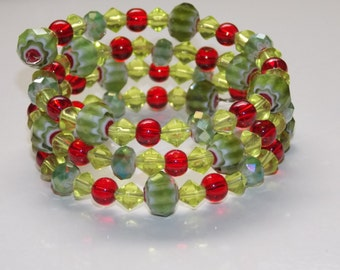 Green Chevron and Red Wrap Bracelet