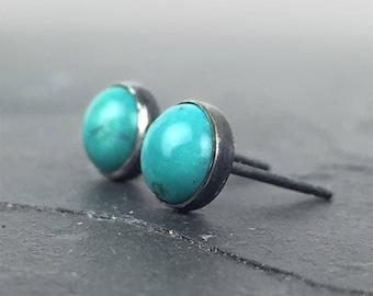 Turquoise Studs, Turquoise Posts, Stud Earrings, Sterling Silver Posts, Turquoise and Silver Studs, Gemstone Posts, Turquoise Earrings